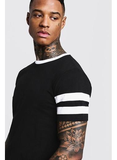 XHAN Siyah & Beyaz Bisiklet Yaka Yaka & Kol Garnili T-Shirt  Siyah